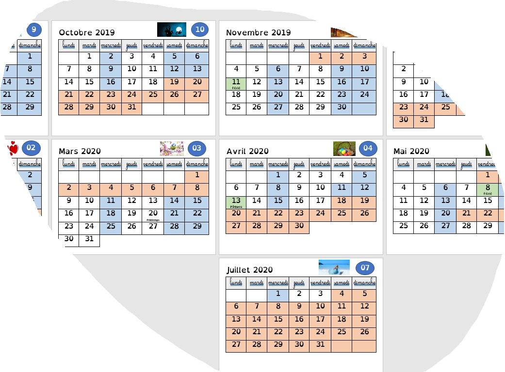 Calendrier Pour La Classe.Calendrier 2019 2020 Le Coin Des Maitresses